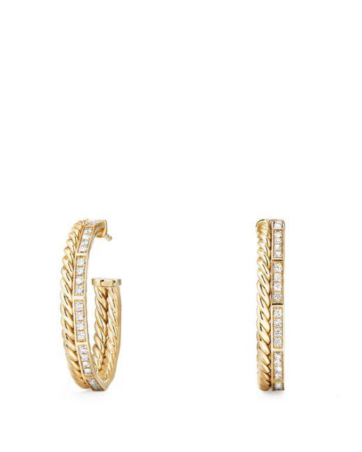 David Yurman - Metallic Stax Hoop Earrings With Diamonds In 18k Gold - Lyst