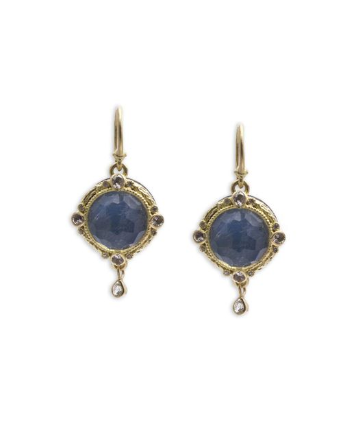 Armenta - Blue White Sapphire And Diamond Drop Earrings - Lyst