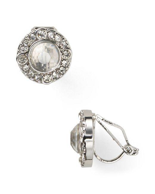 Ralph Lauren   White Lauren Faceted Crystal Stud Clip-on Earrings   Lyst