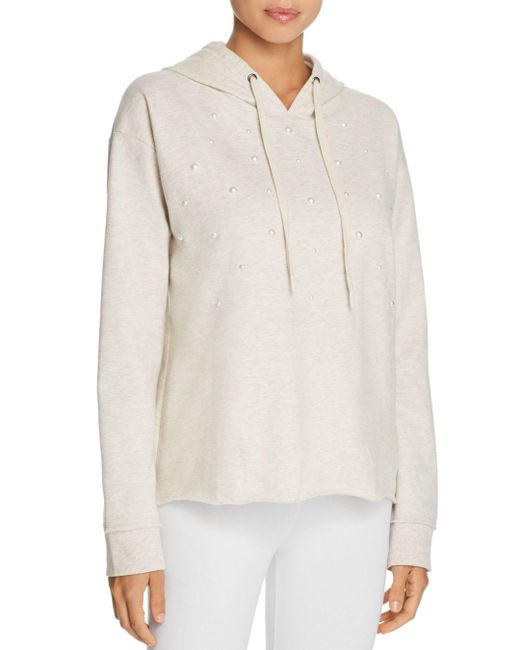 Pj Salvage - White Lazy Days Beaded Front Long Sleeve Hoodie - Lyst