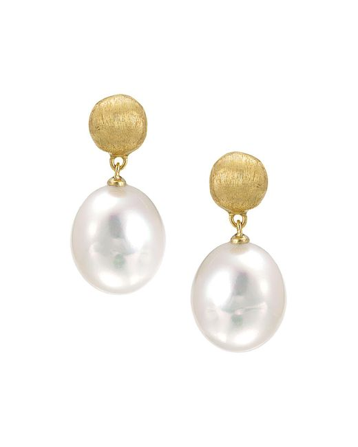 """Marco Bicego - White """"africa Pearl Collection"""" 18k Yellow Gold And Pearl Drop Earrings - Lyst"""