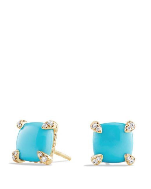 David Yurman - Blue Châtelaine Earrings With Turquoise And Diamonds In 18k Gold - Lyst