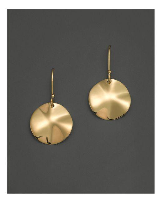 Ippolita | Metallic 18k Gold Wavy Disc Earrings | Lyst