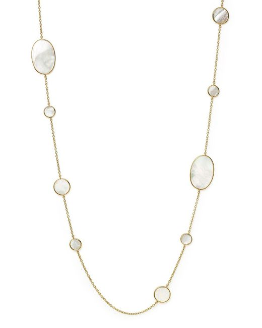 Ippolita | Metallic 18k Yellow Gold Polished Rock Candy Circle Oval Station Necklace In Mother-of-pearl, 37"