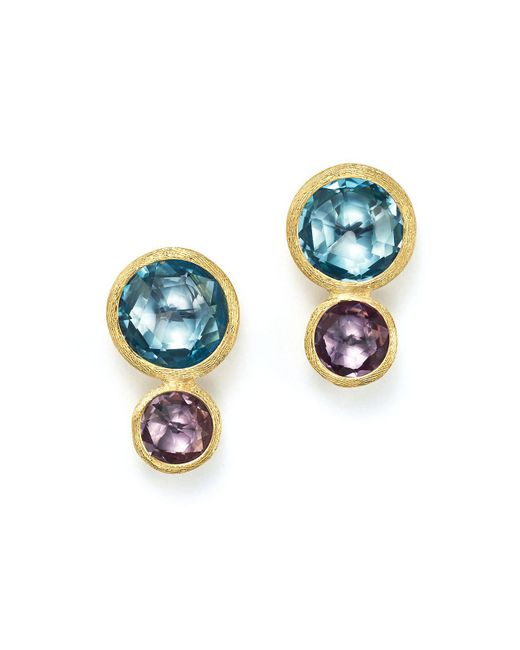 Marco Bicego | Metallic 18k Yellow Gold Jaipur Two Stone Earrings With Blue Topaz And Amethyst | Lyst