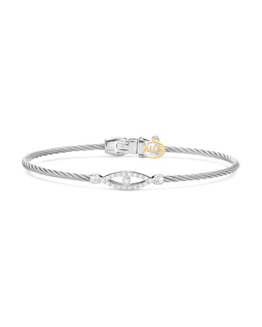 Alor - Metallic Sterling Silver & Diamond Bangle - Lyst