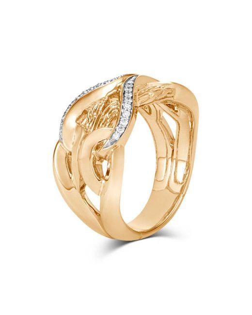 John Hardy - Metallic 18k Yellow Gold Classic Chain Diamond Interlocking Link Ring - Lyst