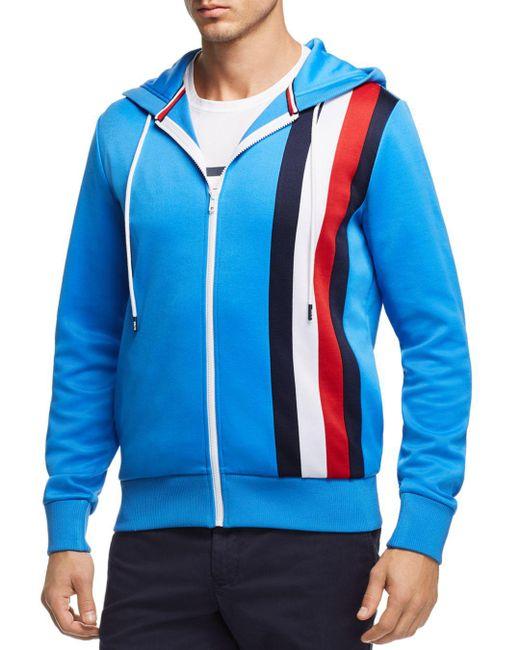 Tommy Hilfiger - Blue Stripe Logo Zip Jacket for Men - Lyst