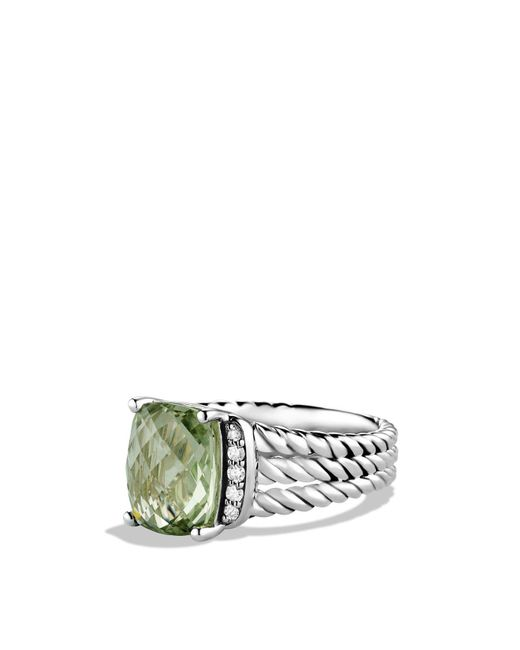 David Yurman - Metallic Petite Wheaton Ring With Prasiolite And Diamonds - Lyst