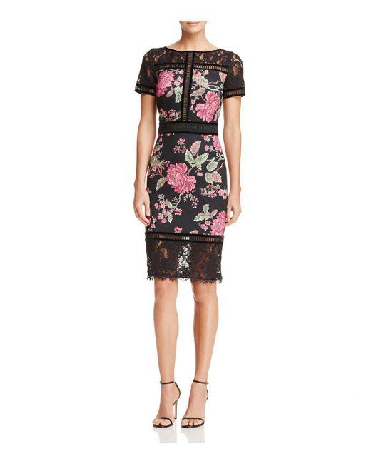 Tadashi Shoji | Black Floral Neoprene Dress | Lyst