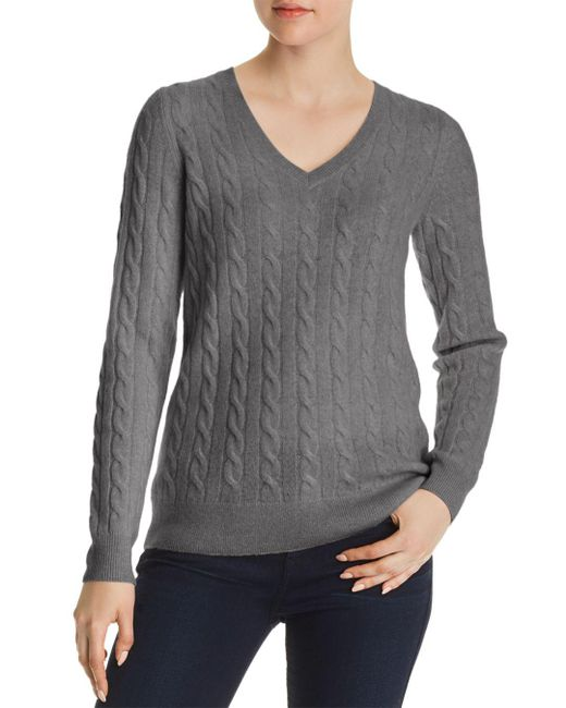 C By Bloomingdale's - Gray Cable-knit Cashmere Sweater - Lyst