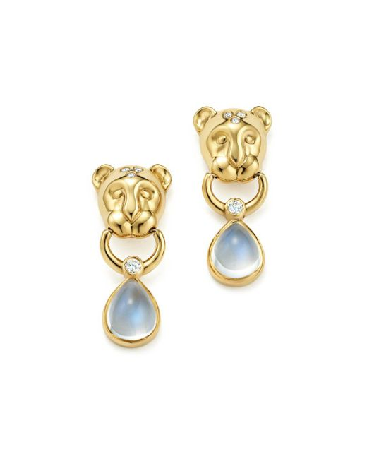 Temple St. Clair - Metallic 18k Yellow Gold Lion Cub Diamond And Royal Blue Moonstone Drop Earrings - Lyst