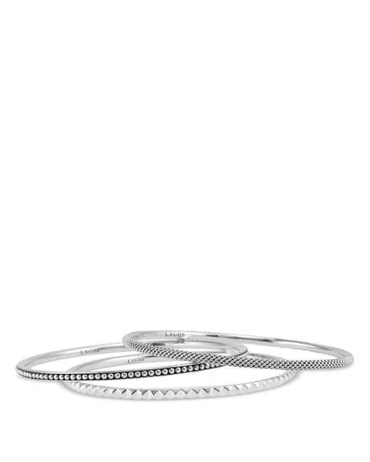 Lagos | Metallic Sterling Silver Caviar And Sugarloaf 3 Bangle Set | Lyst