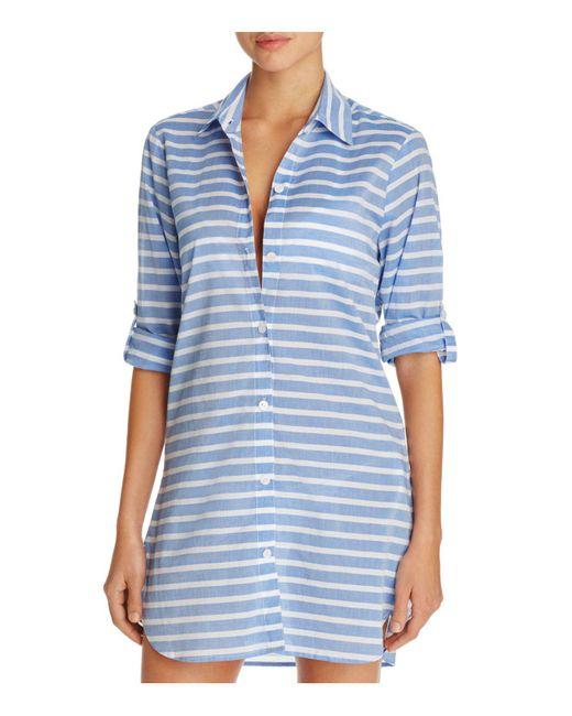 Tommy Bahama | Blue Breton Stripe Boyfriend Shirt Swim Cover-up | Lyst