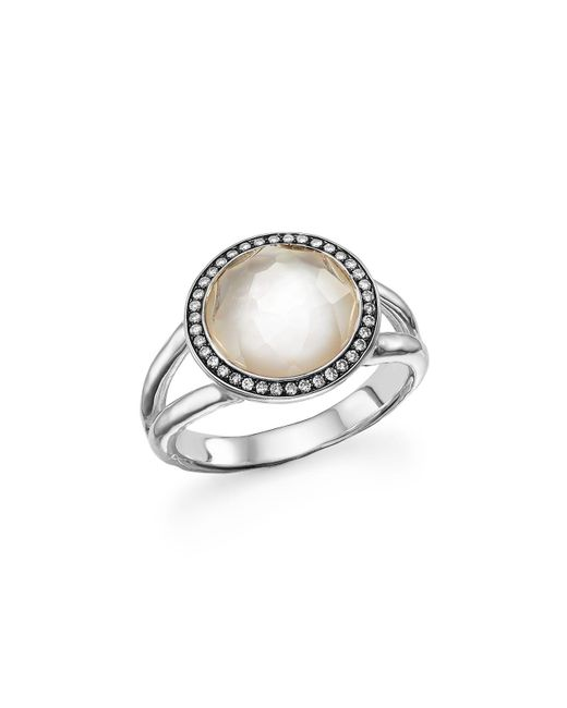 Ippolita   Metallic Sterling Silver Stella Ring In Mother-of-pearl With Diamonds   Lyst