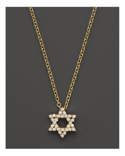 Meira T | 14k Yellow Gold Star Of David Necklace With Diamonds, .13 Ct. T.w. | Lyst
