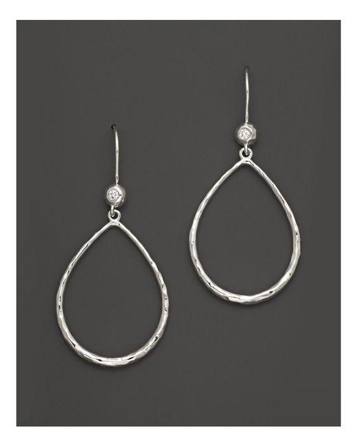 Ippolita | Metallic Sterling Silver Open Teardrop Earrings With Diamonds | Lyst