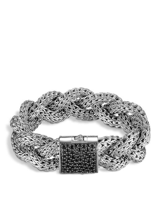 John Hardy | Large Braided Classic Chain Silver Bracelet With Black Sapphires | Lyst