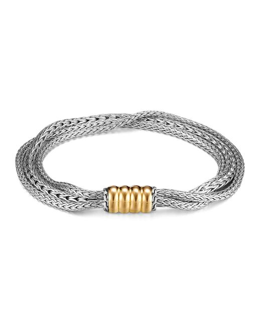 John Hardy   Metallic Bedeg Gold And Silver Three Rows Bracelet   Lyst