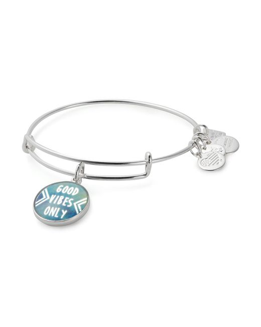 ALEX AND ANI | Metallic Good Vibes Only Expandable Wire Bangle | Lyst