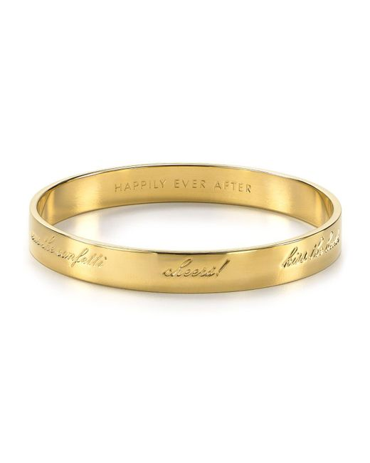 kate spade new york | Metallic Bride Engraved Idiom Bangle | Lyst