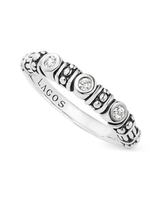 Lagos - Metallic Sterling Silver Three Diamond Stacking Ring - Lyst