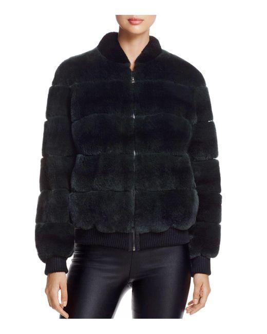 Maximilian | Black Rabbit Fur Bomber Jacket | Lyst