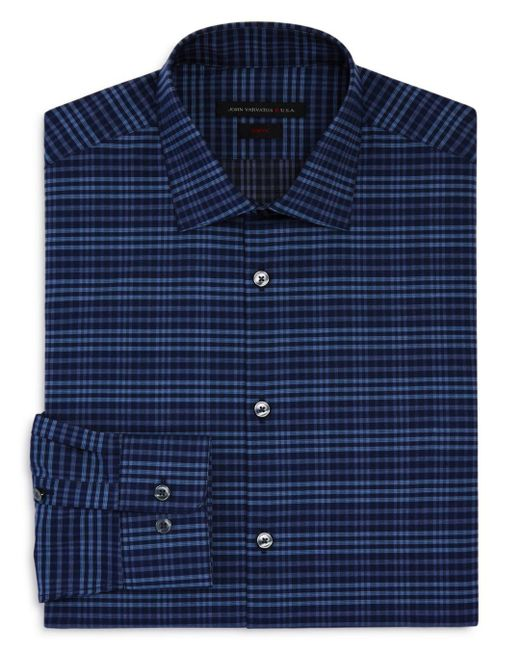 John Varvatos - Blue Check Slim Fit Stretch Dress Shirt for Men - Lyst