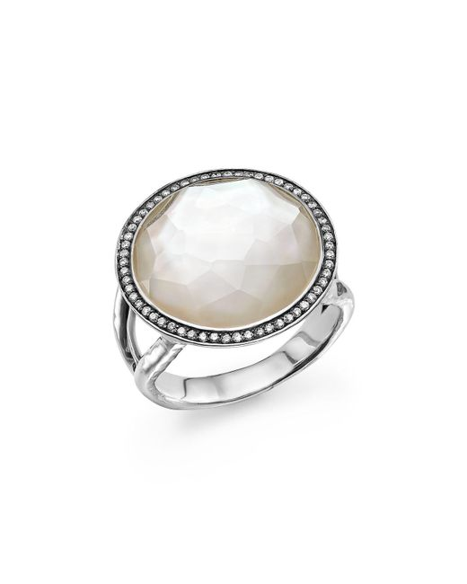 Ippolita | Metallic Sterling Silver Stella Lollipop Ring In Mother-of-pearl Doublet With Diamonds | Lyst