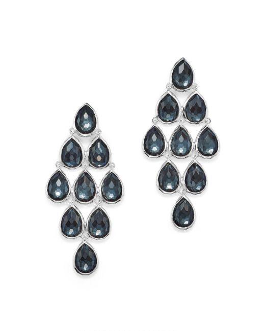 Ippolita - Metallic Sterling Silver Rock Candy® Teardrop Cascade Earrings In Clear Quartz And Hematite - Lyst
