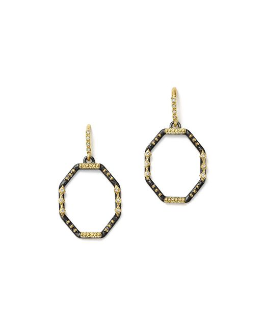 Armenta - Metallic 18k Yellow Gold And Blackened Sterling Silver Old World Diamond Octagon Drop Earrings - Lyst