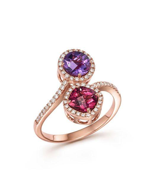 Bloomingdale's - Metallic Amethyst And Rhodolite Garnet Ring With Diamonds In 14k Rose Gold - Lyst