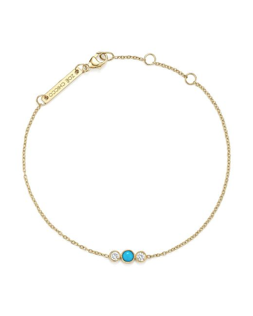 Zoe Chicco - Metallic 14k Yellow Gold Diamond And Aquamarine Charm Bracelet - Lyst