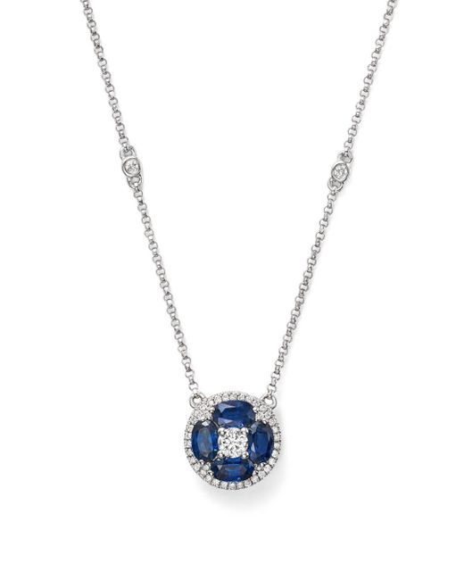 """Bloomingdale's - Blue Sapphire And Diamond Pendant Necklace In 14k White Gold, 17"""" - Lyst"""