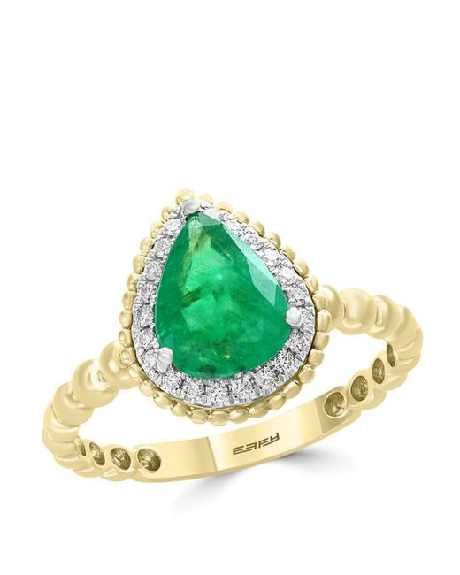 Bloomingdale's - Metallic Emerald & Diamond Beaded Teardrop Ring In 14k White & Yellow Gold - Lyst