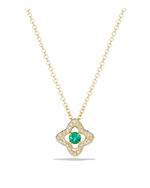 David Yurman | Green Venetian Quatrefoil Necklace With Emerald And Diamonds In 18k Gold | Lyst