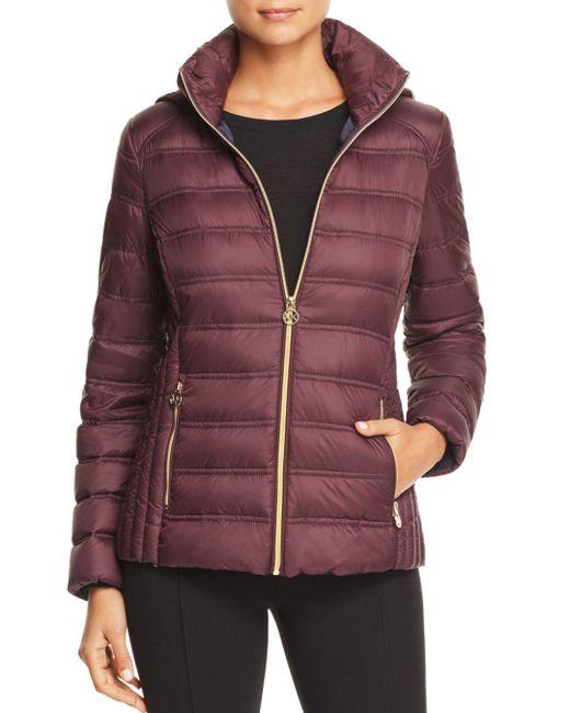 MICHAEL Michael Kors - Purple Packable Zip-front Short Down Coat - Lyst