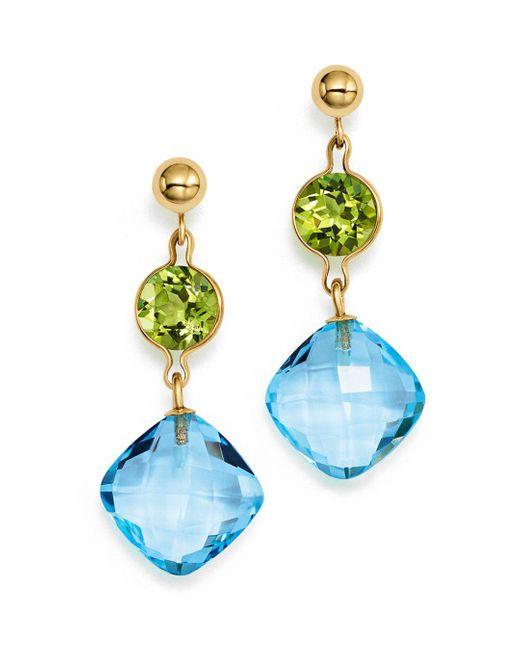 Bloomingdale's - Peridot And Blue Topaz Drop Earrings In 14k Yellow Gold - Lyst