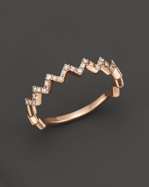 Bloomingdale's - Metallic Diamond Zigzag Ring In 14k Rose Gold - Lyst