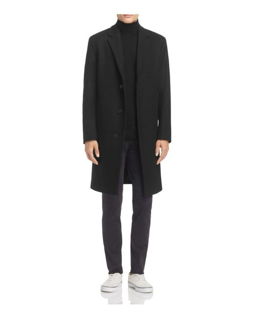 Theory - Black Bower Wool Topcoat for Men - Lyst