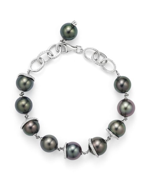 Tara Pearls - Black 18k White Gold Oscar Natural Color Tahitian Cultured Pearl And Diamond Bracelet - Lyst