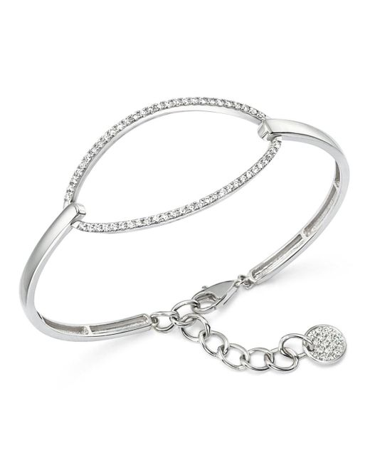 KC Designs - Metallic Diamond Oval Bangle Bracelet In 14k White Gold - Lyst
