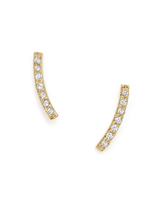 Zoe Chicco - Metallic 14k Yellow Gold Small Curved Bar Stud Earrings With Pavé Diamonds - Lyst