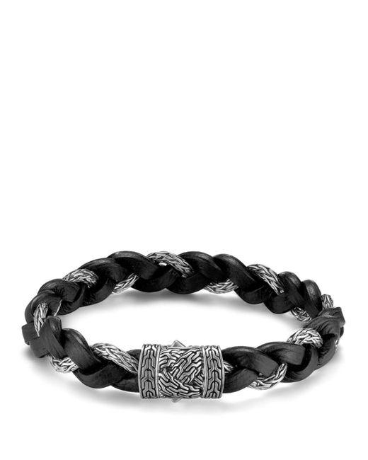 John Hardy - Black Men's Classic Chain Braided Leather Cord Bracelet for Men - Lyst