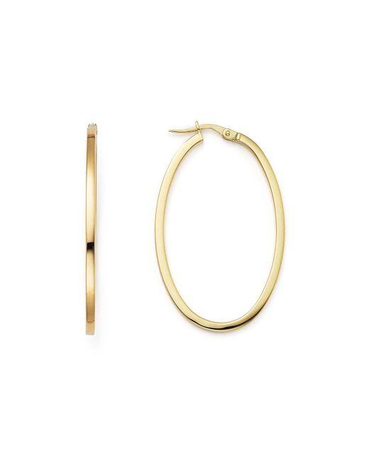 Roberto Coin   Metallic 18k Yellow Gold Oval Hoop Earrings   Lyst