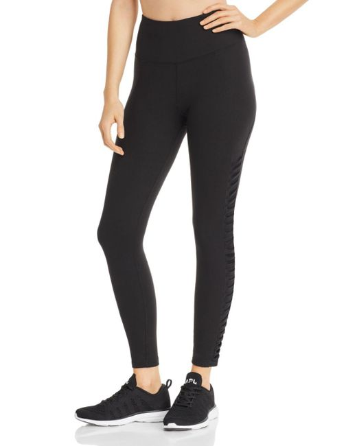 Aqua - Black Athletic Mesh - Inset Leggings - Lyst