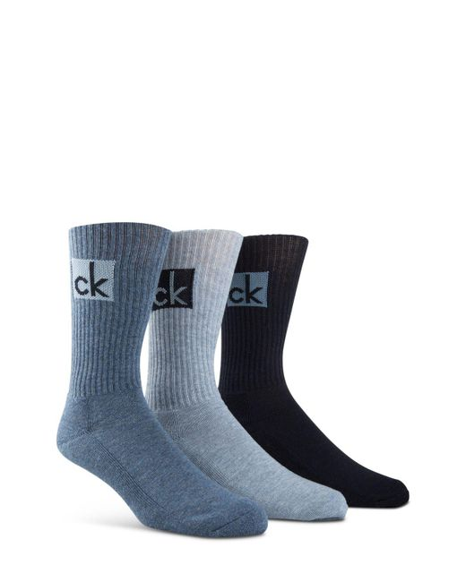Calvin Klein | Blue Cushioned Athleasure Socks - Pack Of 3 for Men | Lyst