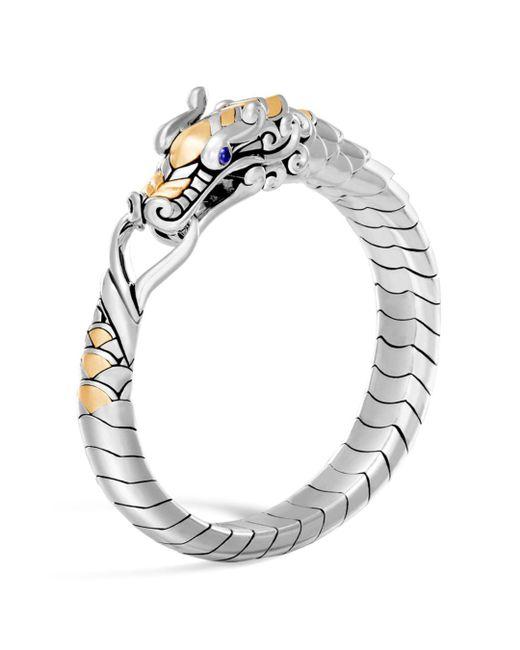 John Hardy - Metallic Legends Naga 18k Gold & Silver Blue Sapphire Studded Bracelet - Lyst