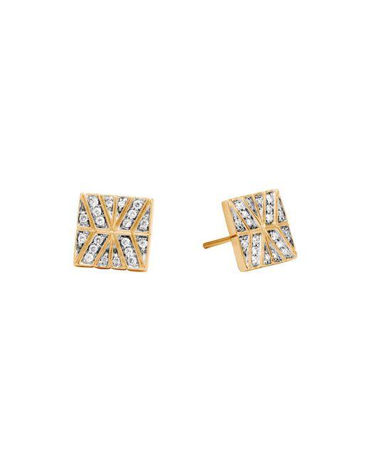 John Hardy - Metallic 18k Yellow Gold Modern Chain Stud Earrings With Diamonds - Lyst