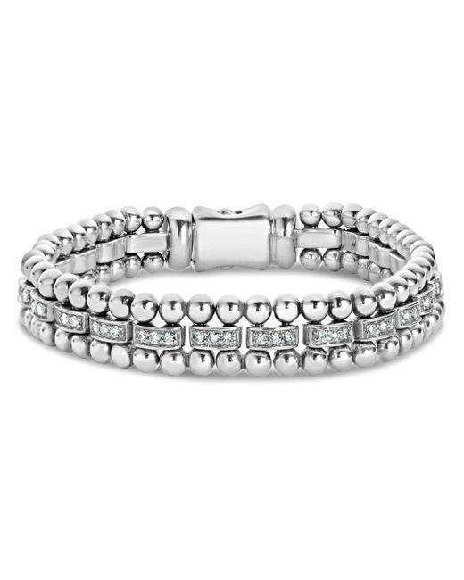 Lagos - Metallic Sterling Silver Caviar Spark Diamond Link Bracelet - Lyst